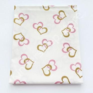 Хлопковая пеленка 100х80 см «Золотые и розовые Сердца с глиттером» белая