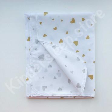 Хлопковая многоразовая пеленка «Золотые Сердца с глиттером» белая