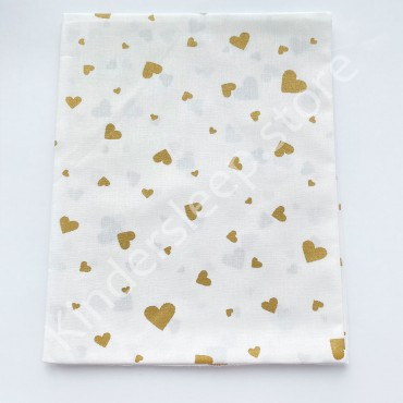 Хлопковая пеленка 100х80 см «Золотые Сердца с глиттером» белая