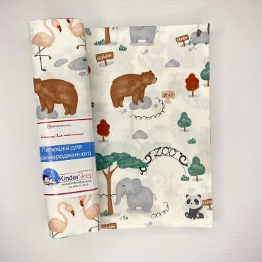 Хлопковая пеленка 100х80 см «Зоопарк» Белая