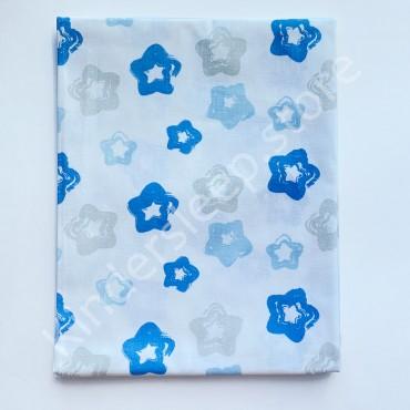 Уценка! Хлопковая пеленка 100х80 см «Звездочки серо-голубые» Белая (Присутствует кромка)