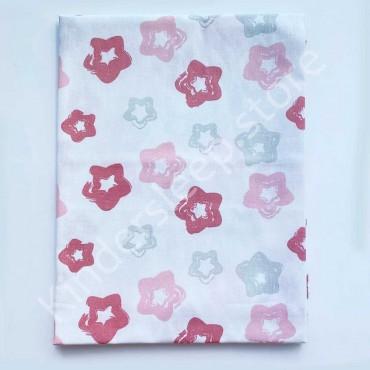 Хлопковая пеленка 100х80 см «Звездочки серо-розовые» Белая