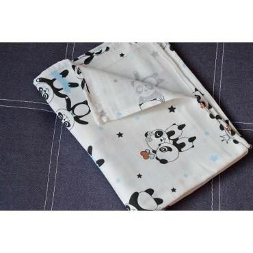 Муслиновая пеленка 100х80 см «Панда» белая