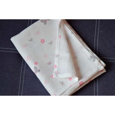 Муслиновая пеленка 100х80 см «Бабочки №1»  белая
