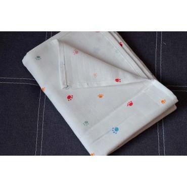 Муслиновая пеленка 100х80 см «Лапки» белая