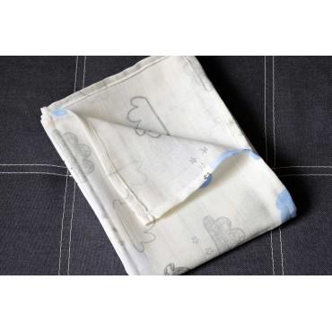 Муслиновая пеленка 100х80 см «Облака» белая