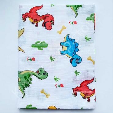 Муслиновая пеленка 100х80 см «Разноцветные Динозаврики» белая