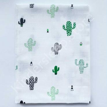Муслиновая пеленка 100х80 см «Кактусы» белая
