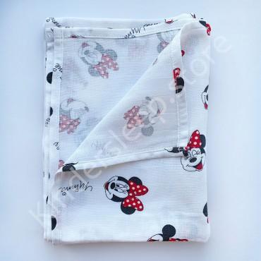 Муслиновая пеленка 100х80 см «Микки с красным бантом» белая
