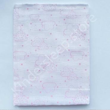 Муслиновая пеленка 100х80 см «Облака розовые» белая