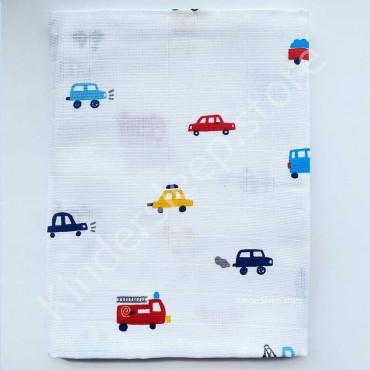 Муслиновая пеленка 100х80 см «Разноцветные машинки» белая