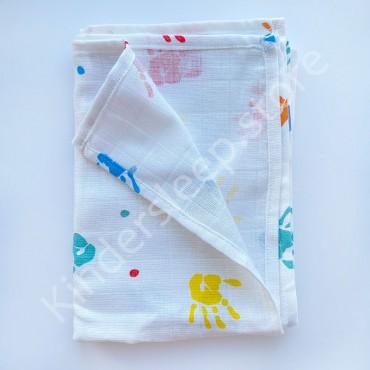 Муслиновая пеленка 100х80 см «Разноцветные ручки» белая