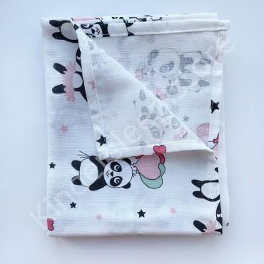 Муслиновая пеленка 100х80 см «Влюбленные панды» белая