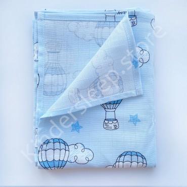 Муслиновая пеленка 100х80 см «Воздушные шары» голубая