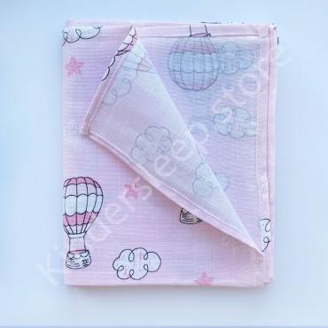 Муслиновая пеленка 100х80 см «Воздушные шары» розовая