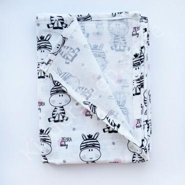 Муслиновая пеленка 100х80 см «Зебра» белая