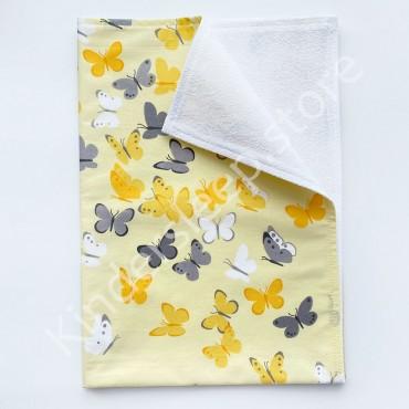 Непромокаемая пеленка 70х50 см, Бязь, «Бабочки » желтая