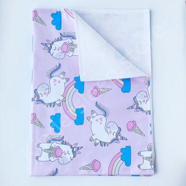 Непромокаемая пеленка 70х50 см, Бязь, «Радужный единорог» розовая