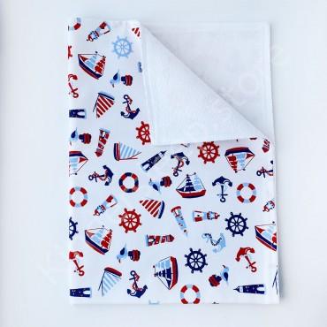 Непромокаемая пеленка 70х50 см, Бязь, «Кораблики» белая
