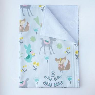 Непромокаемая пеленка 70х50 см, Сатин, «Лесные зверята» мятные