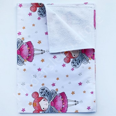 Непромокаемая пеленка 70х50 см, Бязь, «Маленькая фея» Белая