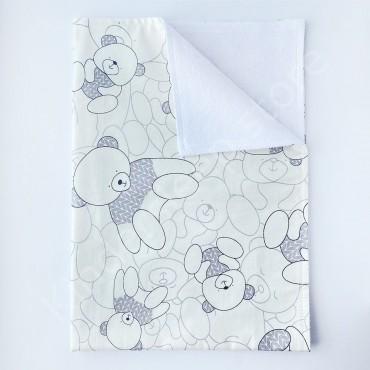 Непромокаемая пеленка 70х50 см, Сатин, «Мишка в сером свитере» белая