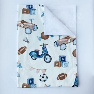 Непромокаемая пеленка 70х50 см, Сатин, «Retro boys world» белая
