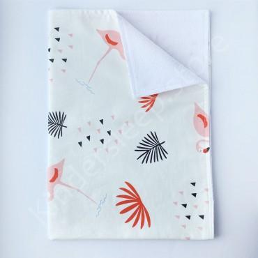 Непромокаемая пеленка 70х50 см, Сатин, «Розовый фламинго» белая