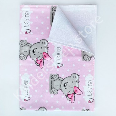 Непромокаемая пеленка 70х50 см, Бязь, «Мишка Тедди girl» Розовая