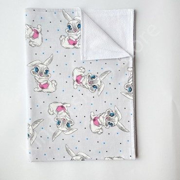 Непромокаемая пеленка 70х50 см, Бязь, «Зайчик серая»