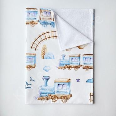 Непромокаемая пеленка 70х50 см, Бязь, «Железная дорога» Белая