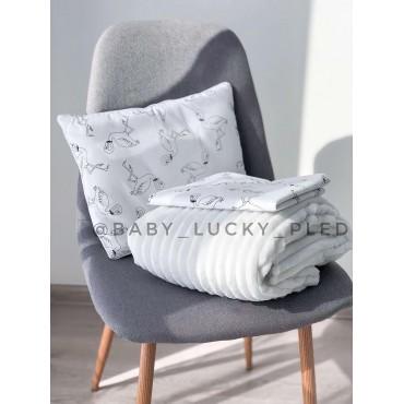 Набор в коляску (кроватку) 3 предмета «Белые фламинго»