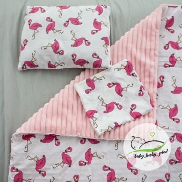 Набор в коляску (кроватку) 3 предмета «Розовые фламинго»