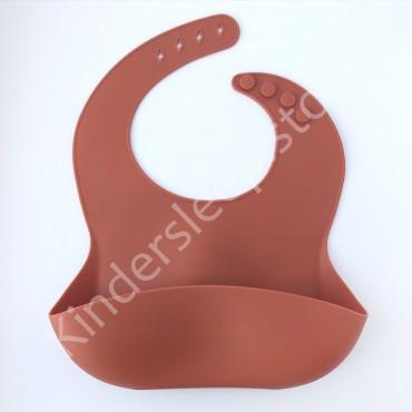 Нагрудник силиконовый, цвет Красно-кирпичный
