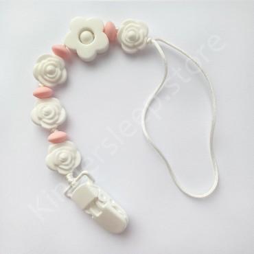 Держатель грызунок для пустышки Белые Розы