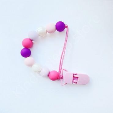 Держатель грызунок для пустышки, для девочки, цвет фиолетово-розовый