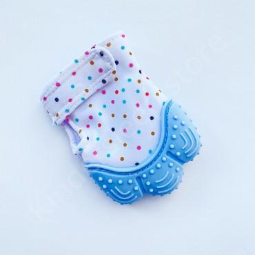 Перчатка грызунок (митенка), прорезыватель для зубов Голубой в горошек