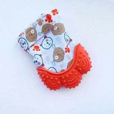 Перчатка грызунок (митенка), прорезыватель для зубов Оранжевый с собачками