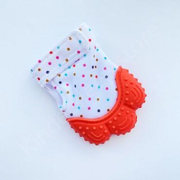 Перчатка грызунок (митенка), прорезыватель для зубов Оранжевый в горошек
