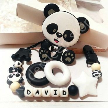 Именной грызунок Панда Чёрная, имя DAVID (Давид)