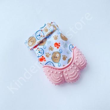 Перчатка грызунок (митенка), прорезыватель для зубов Розовый с собачками