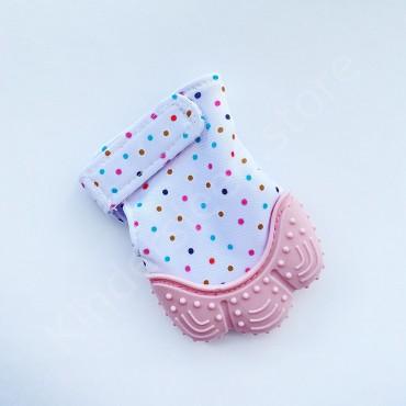 Перчатка грызунок (митенка), прорезыватель для зубов Розовый в горошек