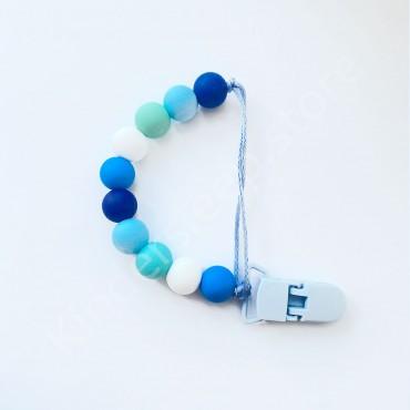 Держатель грызунок для пустышки, для мальчика, цвет сине-голубой