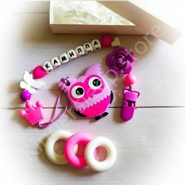 Именной грызунок Сова Фиолетово-розовая, имя Камилла