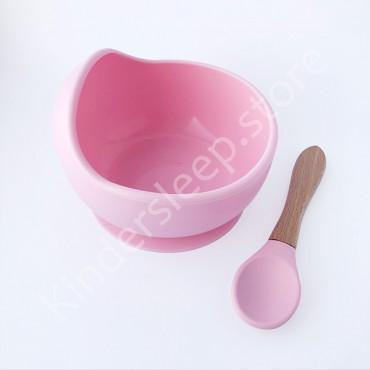 Силиконовая Тарелка с ложкой на присоске, цвет Нежно розовый