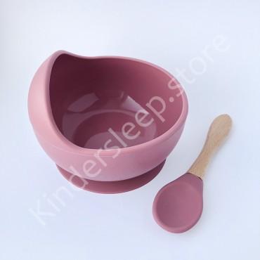 Силиконовая Тарелка с ложкой на присоске, цвет Пыльная Роза