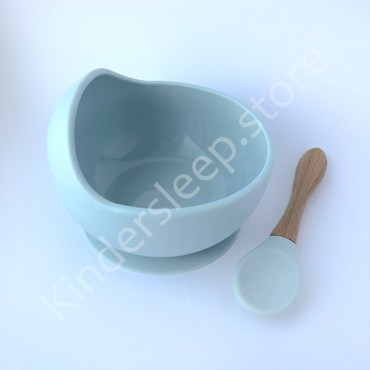 Силиконовая Тарелка с ложкой на присоске, цвет Пастельно-голубой